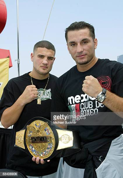 """Boxers Peter Manfredo Jr. And Contender champion Sergio Mora pose at the press conference for """"The Contender"""" at Staples Center on August 18, 2005 in..."""