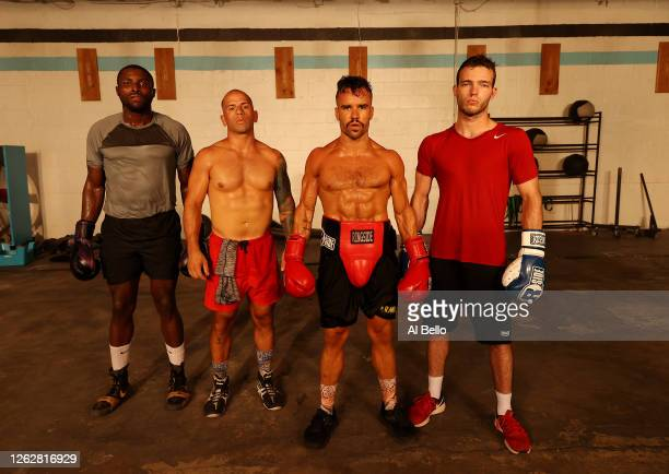 Boxers Raheem Yusuff Sal Carillo Dennis Guerrero and Anthony Lopez pose for a photo after the final boxing workout at Jetty gym on July 30 2020 in...