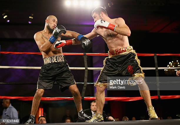 Boxers Ramon Ayala and Chris Van Heerden fight during the B Riley Co And Sugar Ray Leonard Foundation's 6th Annual Big Fighters Big Cause Charity...