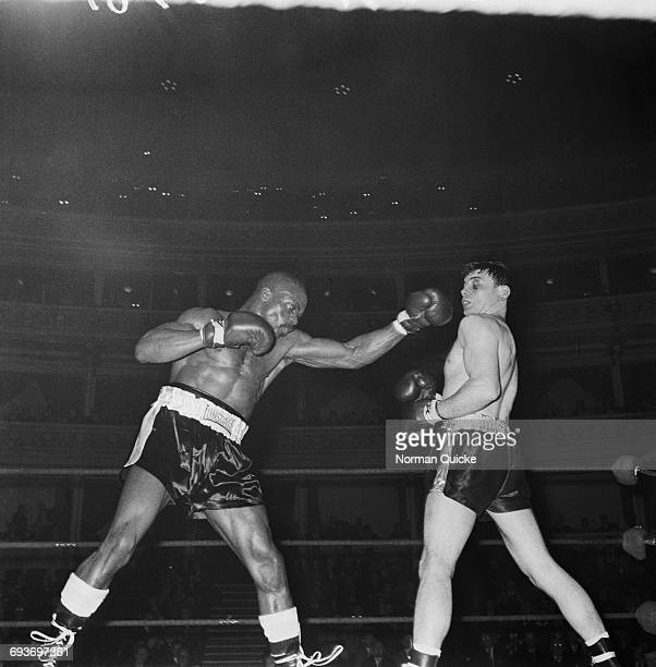 Boxers Rubin Carter and Harry Scott at the Royal Albert Hall London 9th March 1965 Carter beat Scott by TKO in round 9 of 10