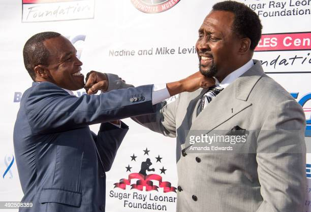 Boxers Sugar Ray Leonard and Thomas Hearns arrive at the 5th Annual 'Big Fighters Big Cause' charity boxing night benefiting The Sugar Ray Leonard...