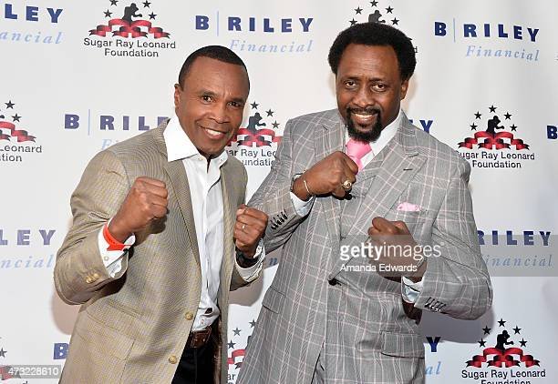 Boxers Sugar Ray Leonard and Thomas Hearns arrive at the 6th Annual Big Fighters Big Cause Charity Boxing Night at the Dolby Theatre on May 13 2015...