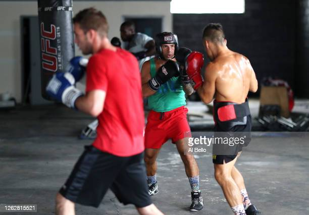 Boxers train and spar during a final boxing workout at Jetty gym on July 30 2020 in Oceanside New York Dennis Guerrero who is a co owner of Jetty has...