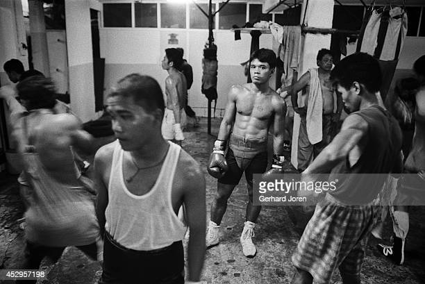Boxers training at LM Gym in Manila where boxing sensation Manny Pacquiao started his career at the age of 17 Manny ran away from his impoverished...