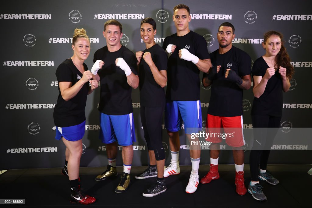 Boxers Troy Garton, Ryan Scaife, Alexis Pritchard, David Nyika, Leroy Hindley and Tasmyn Benny pose following the New Zealand Commonwealth Games Boxing Team Announcement at Wreck Room on February 22, 2018 in Auckland, New Zealand.