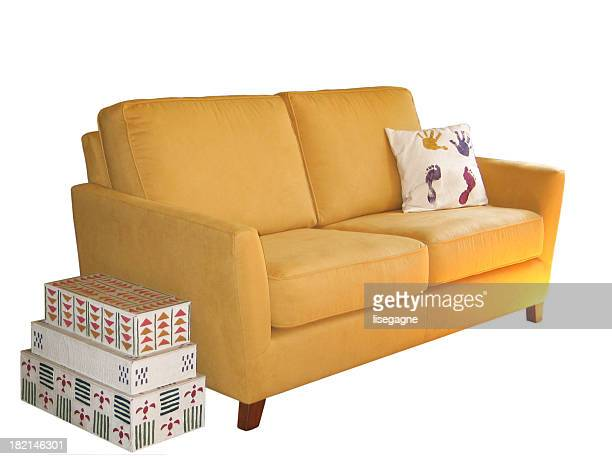 Boxes and a sofa