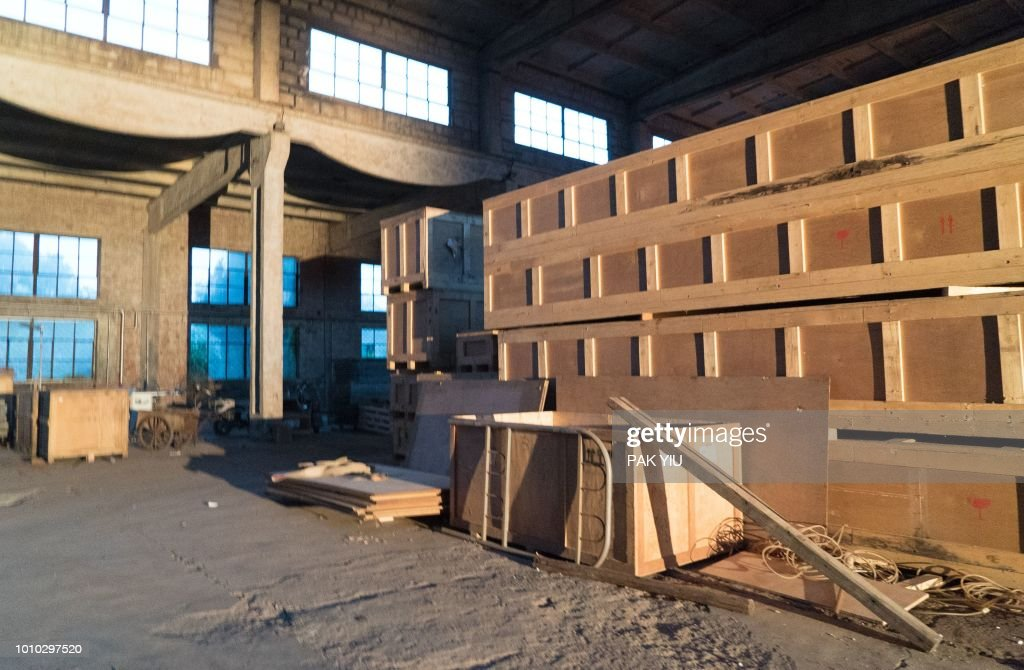 Boxes cointaining art works are seen after being packed up at Ai Weiwei's 'Left and Right Art Studio' in Beijing on August 3, 2018. - Ai Weiwei said on August 3, 2018 wrecking crews had started demolishing his main studio in Beijing without notice, three years after the artist and government critic left China.