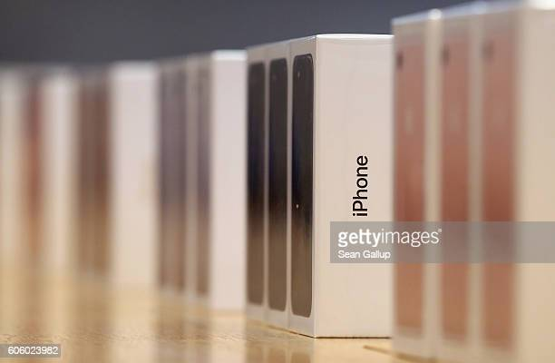 Boxes containing the new iPhone 7 stand lined up for customers at the Berlin Apple store on the first day of sales of the new phone on September 16...
