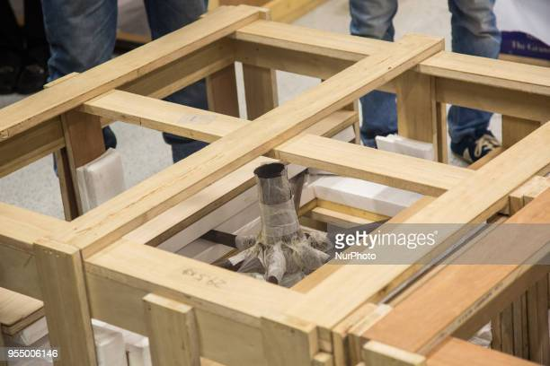 Boxes contaning pieces of the last chariot of Tutankhamun at the Grand Egyptian Museum Giza Egypt 05 May 2018 The sixth and last chariot of...