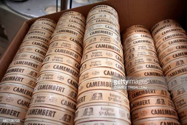 Boxes for packaging French Camembert cheese are pictured at the IsignySainteMere dairy cooperative in IsignysurMer northwestern France on April 4...