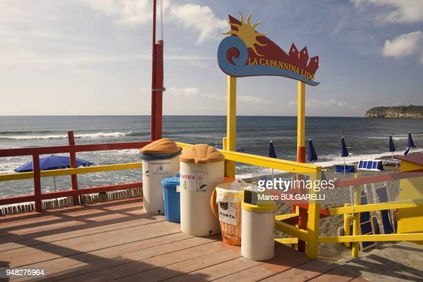 Boxes for recyclable materials at Ciracciello beach on June 11 2012 in Procida Italy