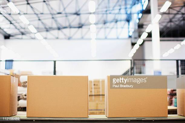 Boxes in row in shipping area