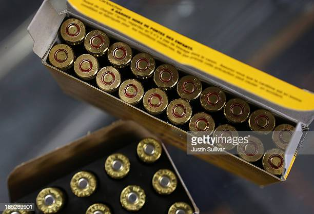 Boxes of 9mm and 223 rifle ammuntion sit on the counter at Sportsmans Arms on April 2 2013 in Petaluma California In the wake of the Newtown...