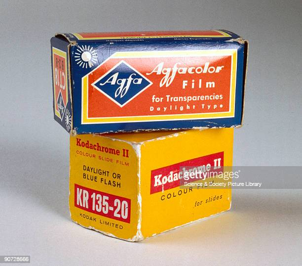 Boxes of Agfacolor and Kodachrome II film for colour transparencies The first colour slide film was Kodachrome introduced by Kodak in 1936 Slides are...