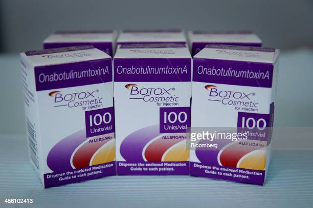 Boxes of Allergan Inc Botox cosmetic are arranged for a photograph at a doctor's office in Manhattan Beach California US on Tuesday April 22 2014...