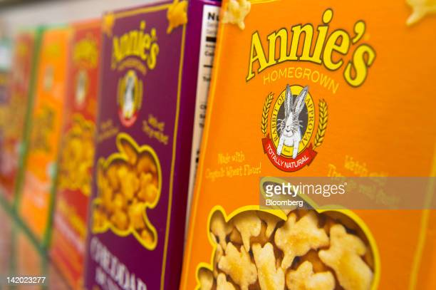 Boxes of Annie's Inc products are arranged for a photograph at the company's corporate headquarters in Berkeley California US on Wednesday March 28...