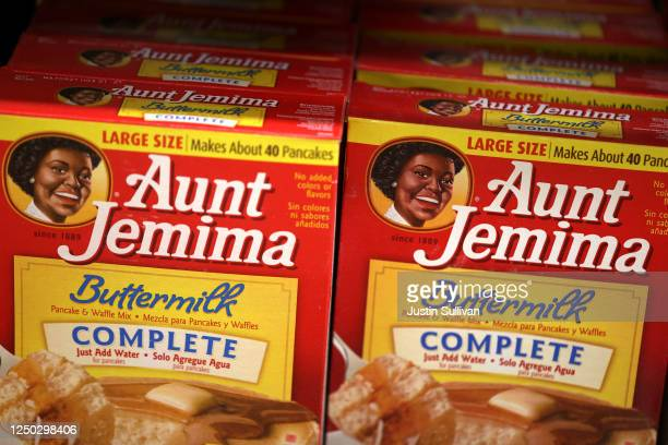 Boxes of Aunt Jemima pancake mix are displayed on a shelf at Scotty's Market on June 17 2020 in San Rafael California Quaker Oats announced that it...