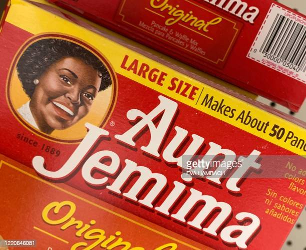 Boxes of Aunt Jemima pancake mix are seen on a store shelf on June 17 2020 in WashingtonDC The Aunt Jemima brand of syrup and pancake mix will get a...