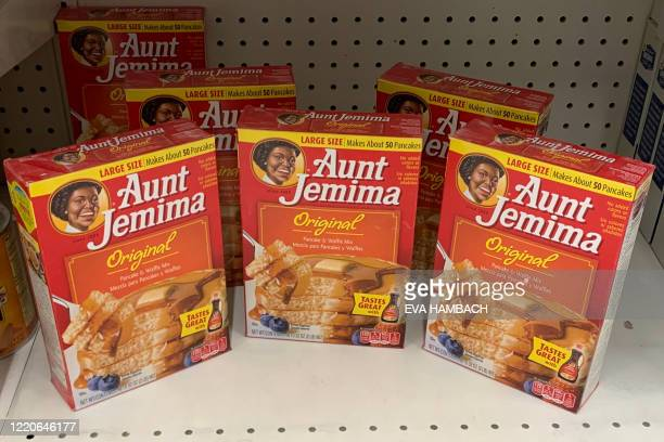 Boxes of Aunt Jemima pancake mix are seen on a store shelf on June 17, 2020 in Washington,DC. - The Aunt Jemima brand of syrup and pancake mix will...