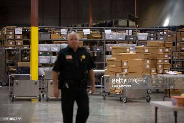 Boxes of ballots are seen at the Supervisor of Elections Service Center on November 15 2018 in Palm Beach Florida Three close midterm election races...