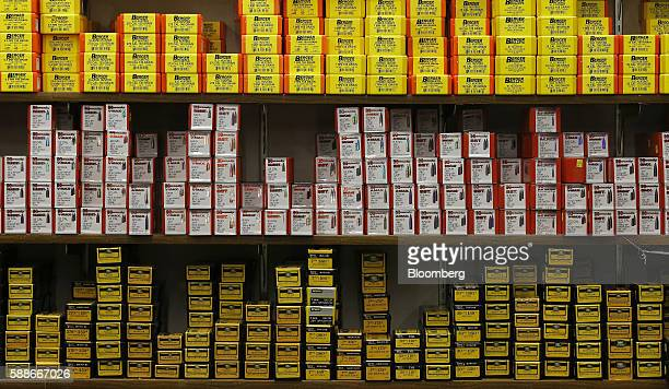 Boxes of bullets sit on display for sale at a gun store in Orem Utah US on Thursday Aug 11 2016 The constitutional right of Americans to bear arms...