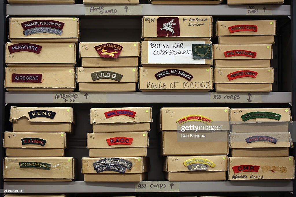 Boxes of buttons and badges are stored in the own dedicated room at Angels Costume House on January 20, 2016 in London, England. Angels Costumes established in 1840 is in its 175th year, and is the longest-established and largest professional costume house in the world. The costumier is to receive the 'Outstanding British Contribution to Cinema Award' at the EE British Academy Film Awards ceremony at Londons Royal Opera House on Feb 14, 2016.