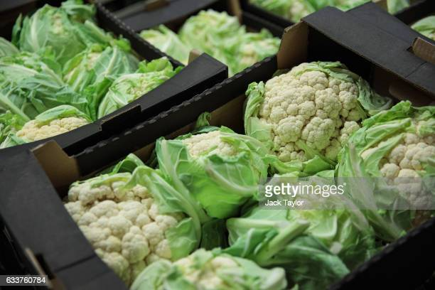 Boxes of cauliflower are packaged for sale at the New Covent Garden fruit and vegetable wholesale market Nine Elms on February 4 2017 in London...