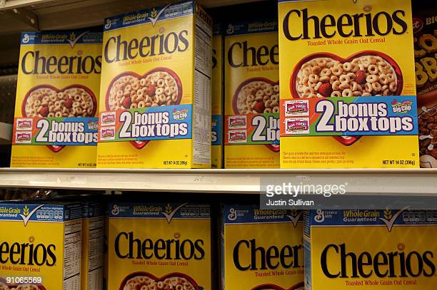 Boxes of Cheerios cereal made by General Mills sit on the shelf at a grocery store September 23 2009 in Berkeley California General Mills Inc...
