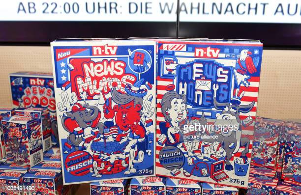 Boxes of cornflakes with Donald Trump and Hillary Clinton as comic book figures on it's packaging are seen on a table at the event US Election night...