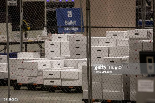 Boxes of counted ballots are seen locked in the ballot storage area at the Philadelphia Convention Center on November 06 2020 in Philadelphia...