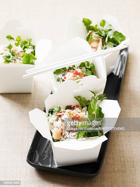 Boxes of crab and noodle salad