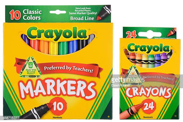 boxes of crayola markers and crayons - crayon stock pictures, royalty-free photos & images