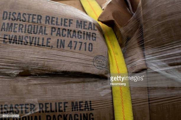 Boxes of disaster relief meals sit on a US Army Reserve truck in Adjuntas Puerto Rico on Friday Oct 6 2017 US lawmakers pledged to back Puerto Rico's...