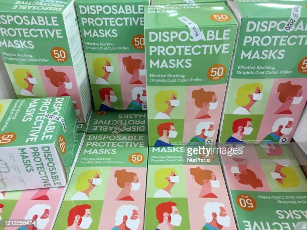 Boxes of disposable face masks to protect from the novel coronavirus for sale at a shop in Toronto Ontario Canada on May 08 2020