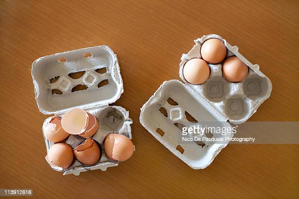 Boxes of eggs (empty and not)