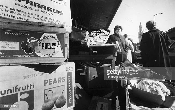 Boxes of imported produce from Mexico and Chile at a North End market in Boston on Feb 28 1986