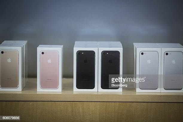 Boxes of iPhone 7 smartphones are displayed at an Apple Inc in New York US on Friday Sept 16 2016 Shoppers looking to buy Apple Inc's new iPhone 7...