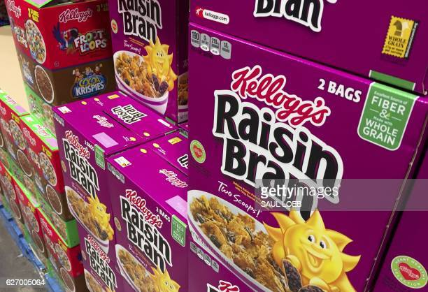 Boxes of Kellogg's cereals including Froot Loops Cocoa Krispies and Raisin Bran are seen at a store in Arlington Virginia December 1 2016 Kellogg's...