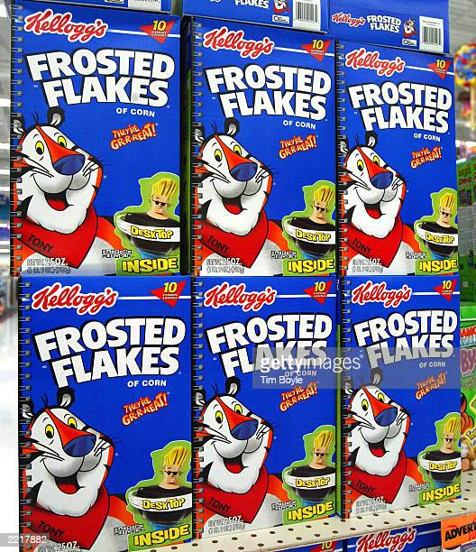 Boxes of Kellogg's Frosted Flakes cereal are seen displayed inside a WalMart store July 28 2003 in Rolling Meadows Illinois With strong company wide...
