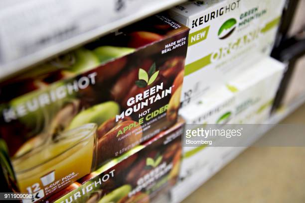 Boxes of Keurig Green Mountain Inc brand apple cider pods are displayed for sale at a supermarket in Princeton Illinois US on Monday Jan 29 2018 JAB...