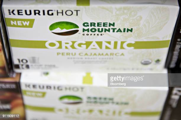 Boxes of Keurig Green Mountain Inc brand coffee pods are displayed for sale at a supermarket in Princeton Illinois US on Monday Jan 29 2018 JAB...
