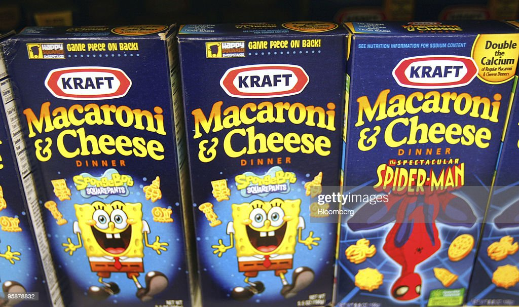 Boxes of Kraft Foods Inc. Macaroni & Cheese sit on a shelf in a grocery store in Glenview, Illinois, U.S., on Tuesday, Jan. 19, 2010. Cadbury Plc agreed to an improved 11.9 billion-pound ($19.7 billion) offer from Kraft Foods Inc., ending more than four months of resistance and creating the world's largest confectioner. Photographer: Tim Boyle/Bloomberg via Getty Images News