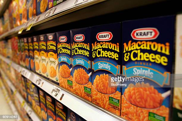 Boxes of Kraft Foods Inc's macaroni and cheese sit on display at a grocery store in Raleigh North Carolina US on Sunday Nov 8 2009 Kraft Foods Inc...