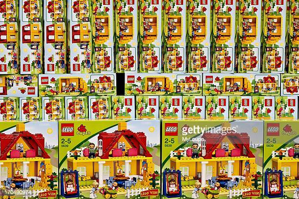 Boxes of lego toys on display for sale in retail store Copenhagen Denmark