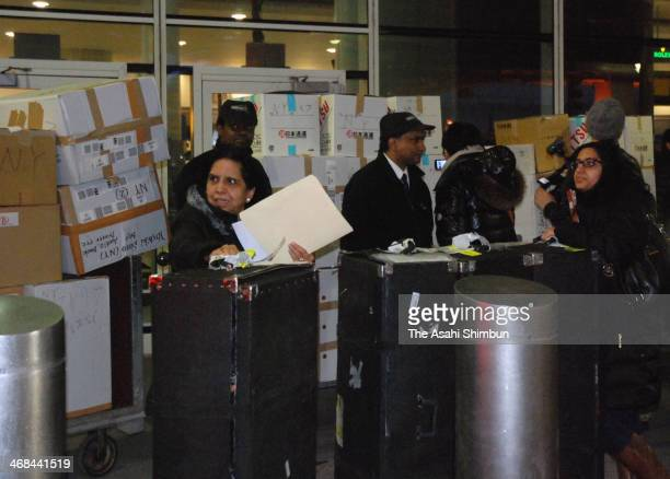 Boxes of Masahiro Tanaka of New York Yankees are seen arriving at JFK airport on February 9 2014 in New York City Masahiro Tanaka arrived on a...