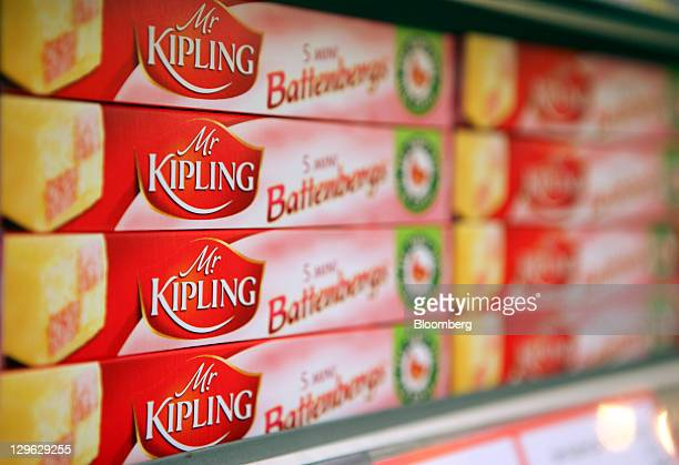 Boxes of Mr Kipling battenburg cakes, manufactured by Premier Foods Plc, sit on display at a supermarket in London, U.K., on Tuesday, Oct. 18, 2011....