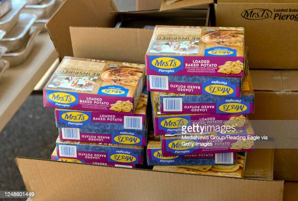 Boxes of Mrs T's Pierogies to be distributed at the Brandywine Heights Intermediate and Middle School in Topton Tuesday afternoon June 9, 2020 where...