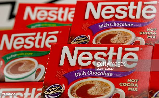 Boxes of Nestle hot cocoa mix are displayed on the shelf at the Marina Supermarket February 21 2008 in San Francisco California Nestle the world's...