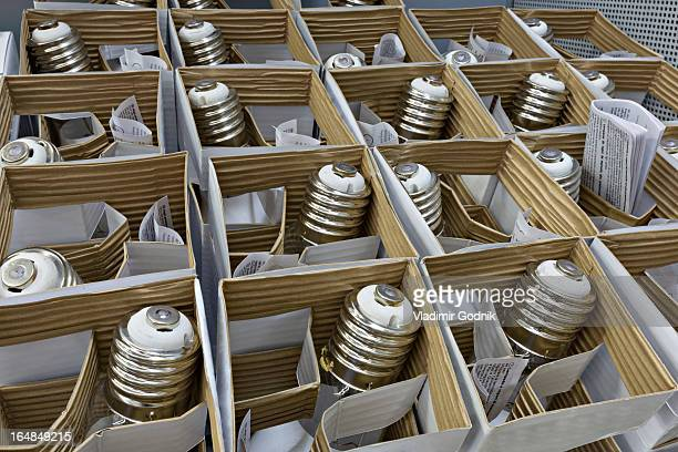 Boxes of packaged light bulbs