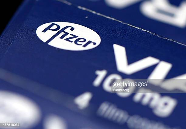 Boxes of Pfizer's 100mg Viagra tablets produced by Pfizer Inc are arranged for a photograph in London UK on Friday May 2 2014 AstraZeneca Plc...